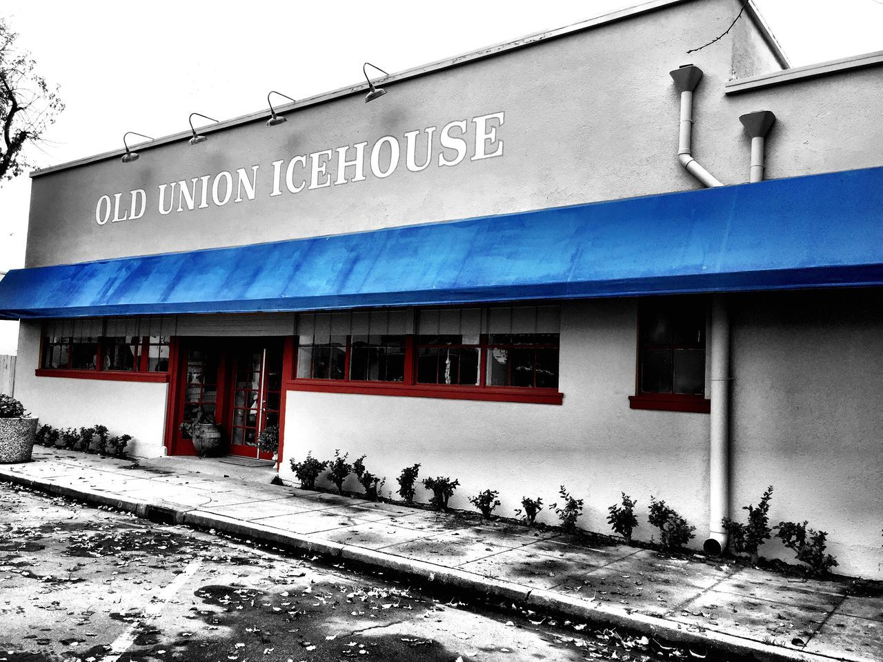 """""""Union Ice"""" Historical Old Union Ice building in Isleton, California. Historical Building History Union Ice Blackandwhite Black & White Blackandwhite Photography Selective Color"""