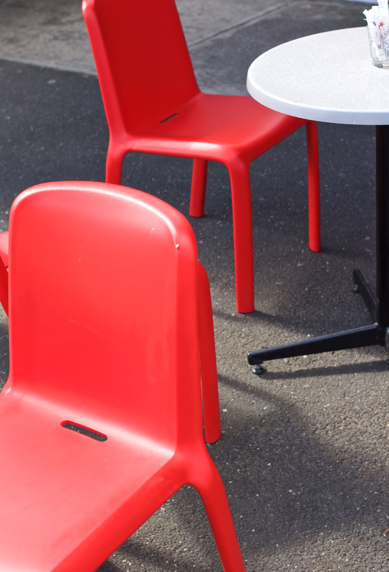Cafe Cafe Seating Chairs Chairswithstories Outdoors Red Red Chair Red Chairs Red Chairs, Redchair White Table Table Table & Chairs Table And Chair