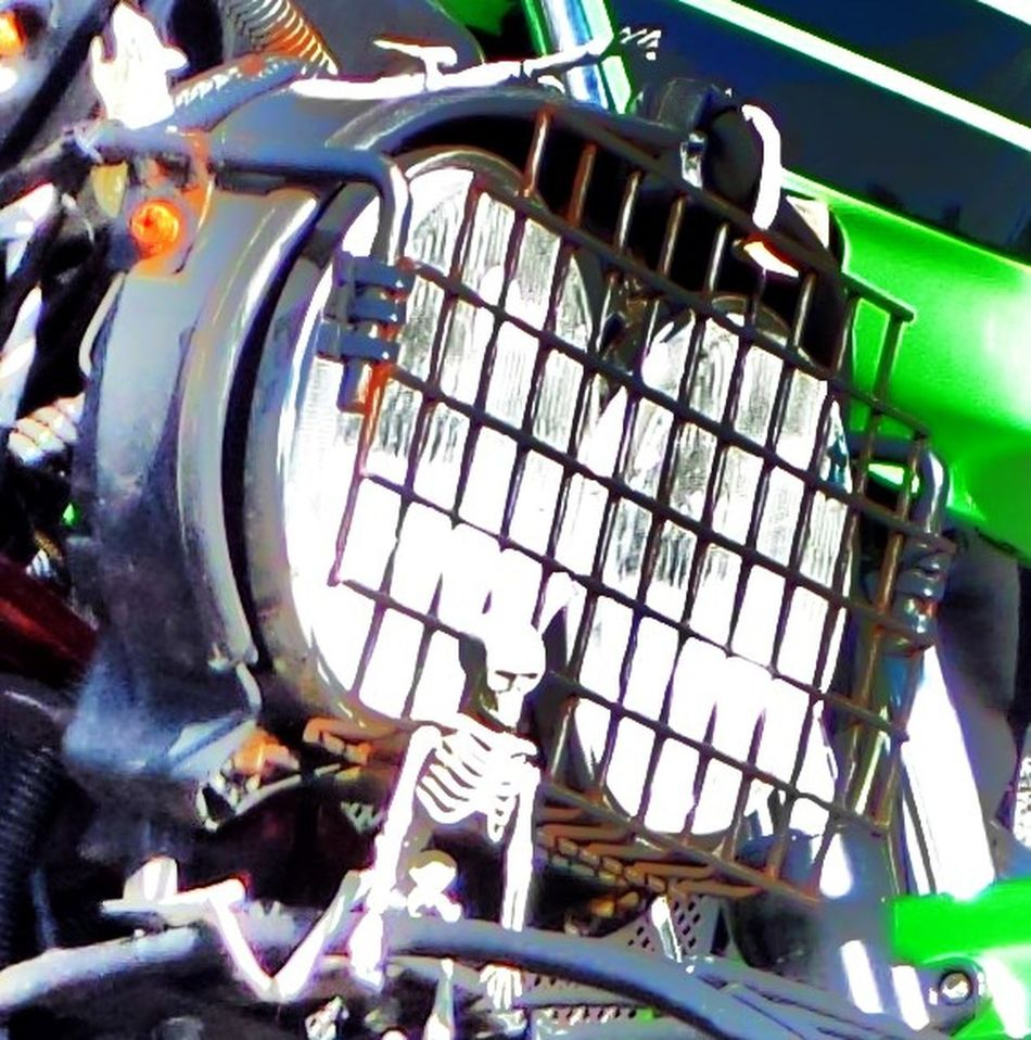 Motorcycle headlight. Detail. Détail... Grill. Headlights. Pink. Green. Shiny. Metallic. Chrome Bumper. American Style. Vintage 1950. Land Vehicle Machinery Mode Of Transport Motorcycle. Enjoying Life :) No People Part Of Protective Grill Over Headlights. Skeleton. Stationary Transportation