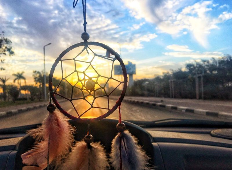 Dreamcatcher Sky Hanging Focus On Foreground Sunset Car AI Now! No People Day Nature Tree Outdoors Close-up