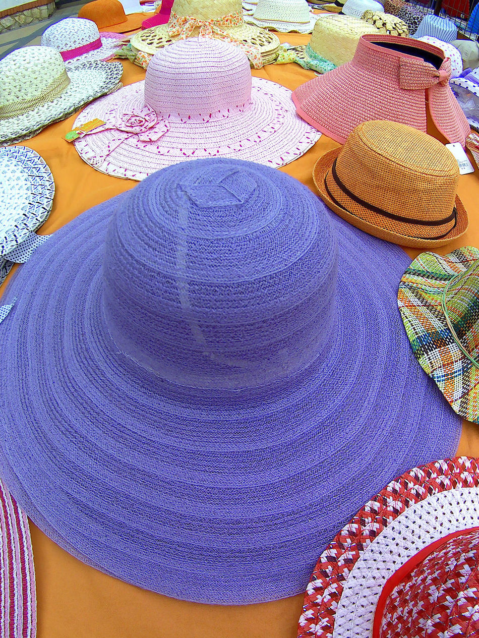 Colors Day No People Outdoor Sale Of Hats Summer Fashion Summer Hats