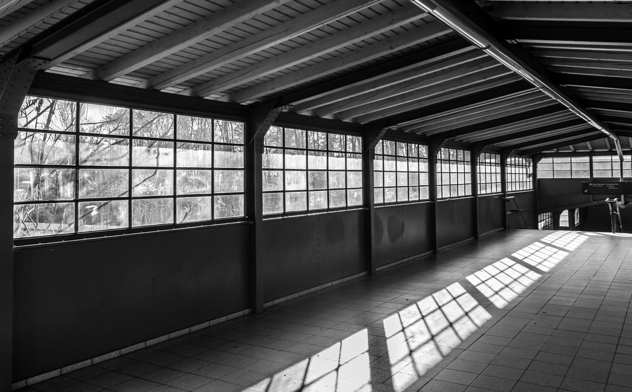Sunlight Falling On Covered Walkway