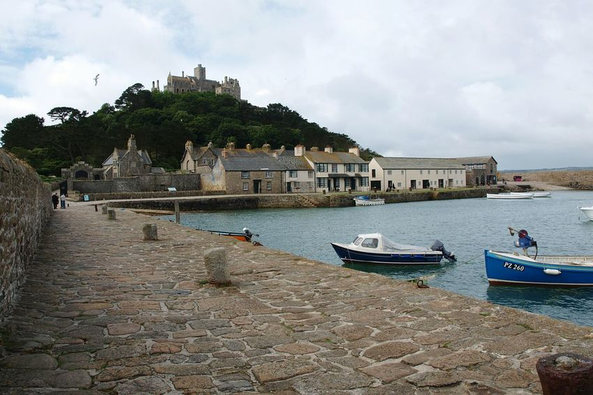 St Michaels Mount Harbour Castle on a Hill Island Boats Sea Stone Wall South Coast Summer Road Trip