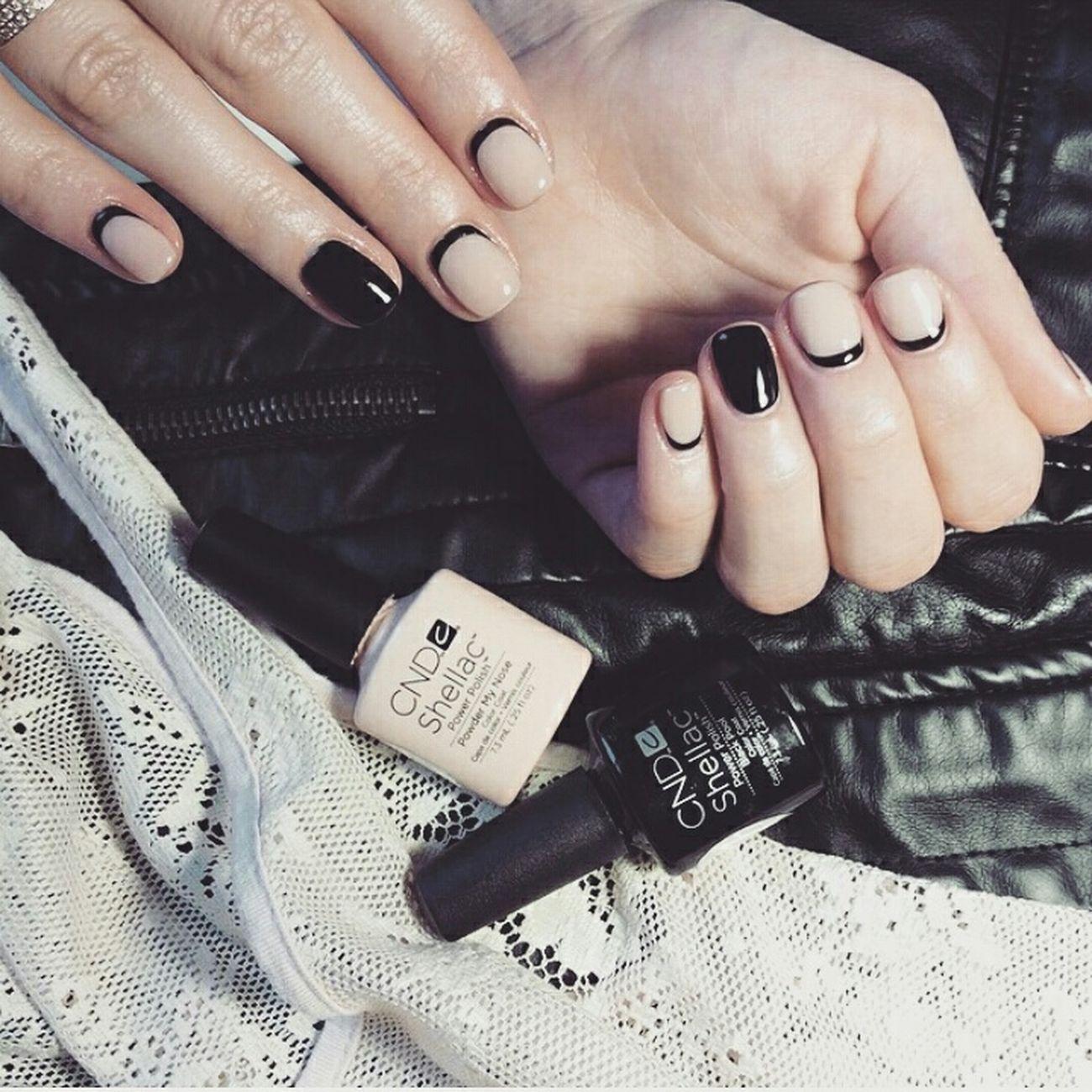 Nails Nailpolish Nailart  Shellac Cndshellac Blackandnude