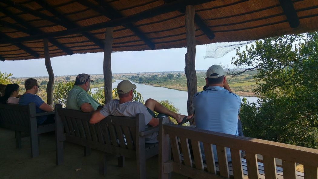 Game viewing Leisure Activity People Enjoyment Togetherness Only Men Outdoors Nature Friendship South African Country Side Cameradery Capture The Moment Casual Clothing LGG4 View From Behind Watching The River Kruger National Park, South Africa Live For The Story The Great Outdoors - 2017 EyeEm Awards People