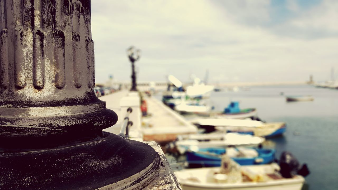 focus on foreground, day, no people, outdoors, close-up, nautical vessel, sky, water, harbor, moored, sea