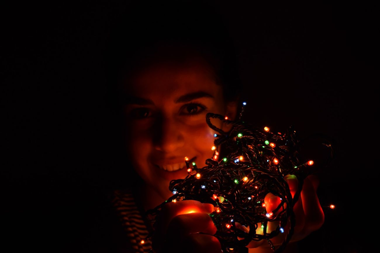 Christmas Black Background Christmas Decoration One Person Illuminated Christmas Ornament Celebration Close-up Night Ready For Christmas! ! Moments Women One Woman Only Cristmas Time♥ NIKON D5300