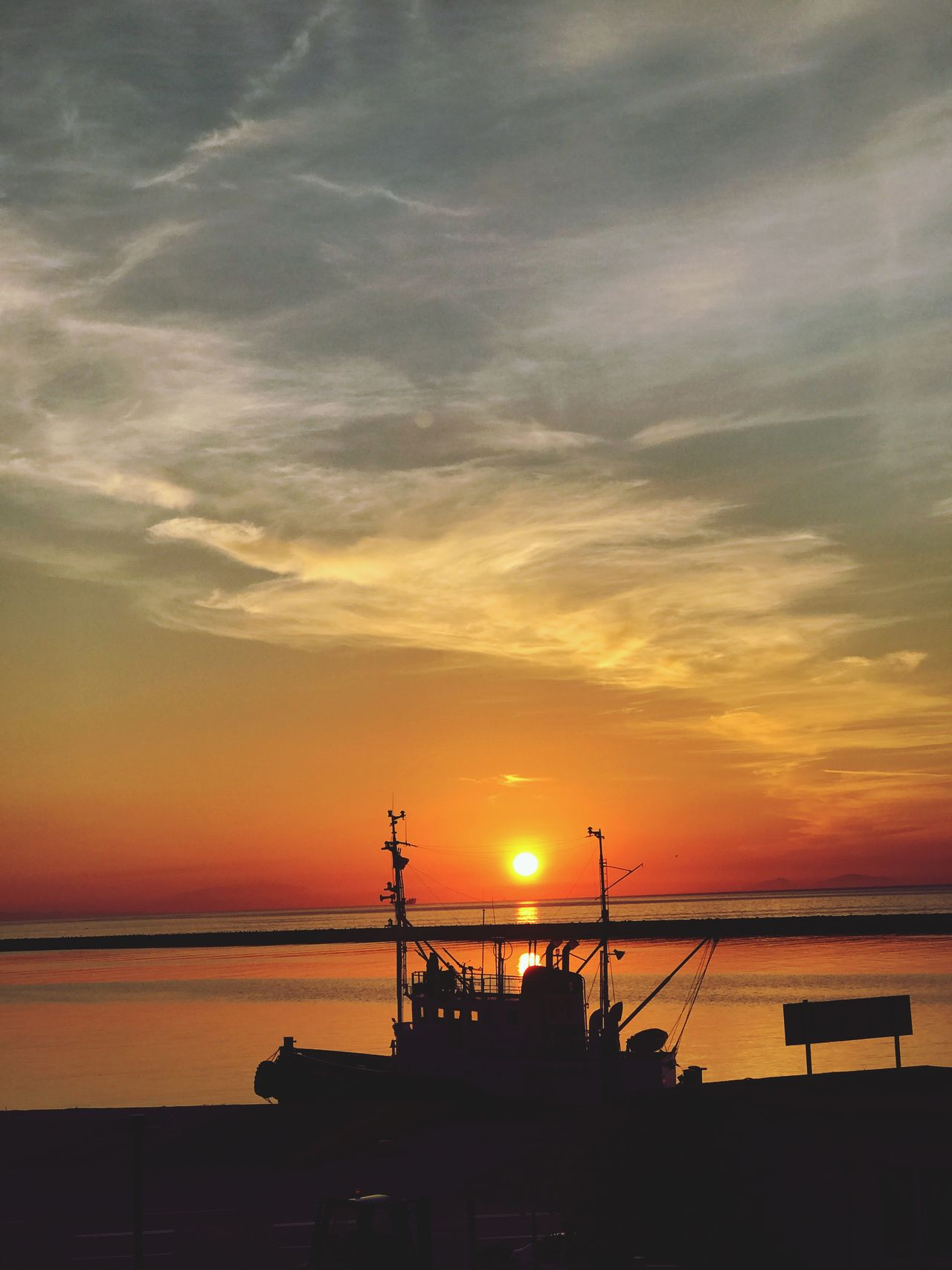 Sunset Boat Sunset Sky Industry Sea Water Outdoors No People Architecture Cloud - Sky Nature Beauty In Nature Day