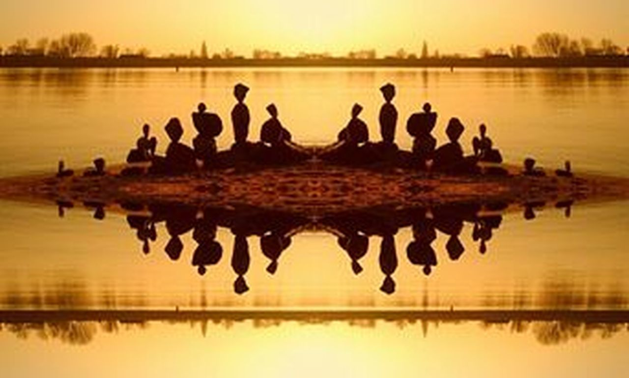 reflection, lake, silhouette, sunset, water, symmetry, standing water, sky, outdoors, togetherness, reflecting pool, nature, people, architecture, day