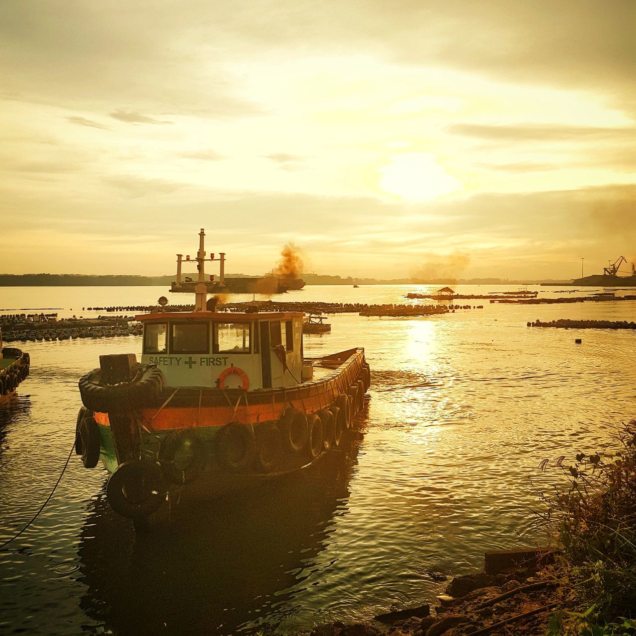 Adapted To The City Yellow Sea Water Sunset Travel Destinations Sky Harbor 日落 Beauty In Nature Cloud - Sky Outdoors No People Transportation 岸边 Scenics Day Johor Bahru Boat