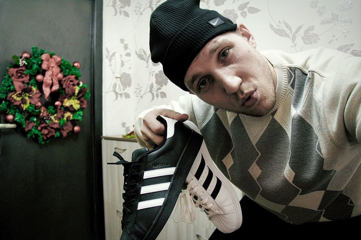 Finally got 'em both Black And White Adidas Originals Superstars Man Style Fashion Stylish Shoes Classic Black And White Stripes
