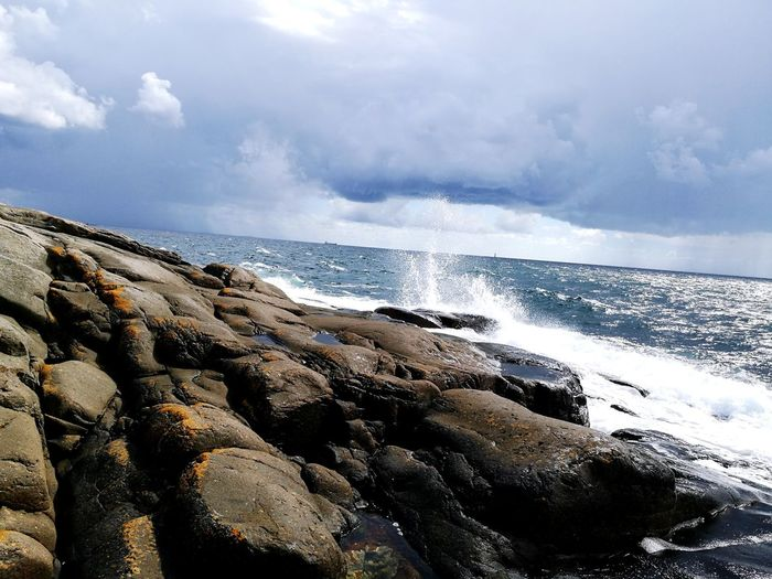 Sea Cloud - Sky Water Nature Horizon Over Water Sky Wave Beauty In Nature Outdoors Rock - Object Rock Rocks Rocks And Water No People Power In Nature Day Scenics Photography Weather Nature Stone Islandlife Wet Island Islandphotography