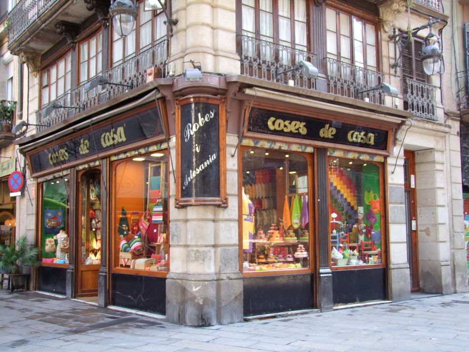Old Household Goods Shop - Coses de Casa Architecture Barcelona Building Exterior City Composition Corner Shop Display Full Frame Household Objects Illuminated No People Outdoor Photography Shop Shop Display Shop Windows Spaın Store Sunlight And Shadow Traditional Traditional Shop