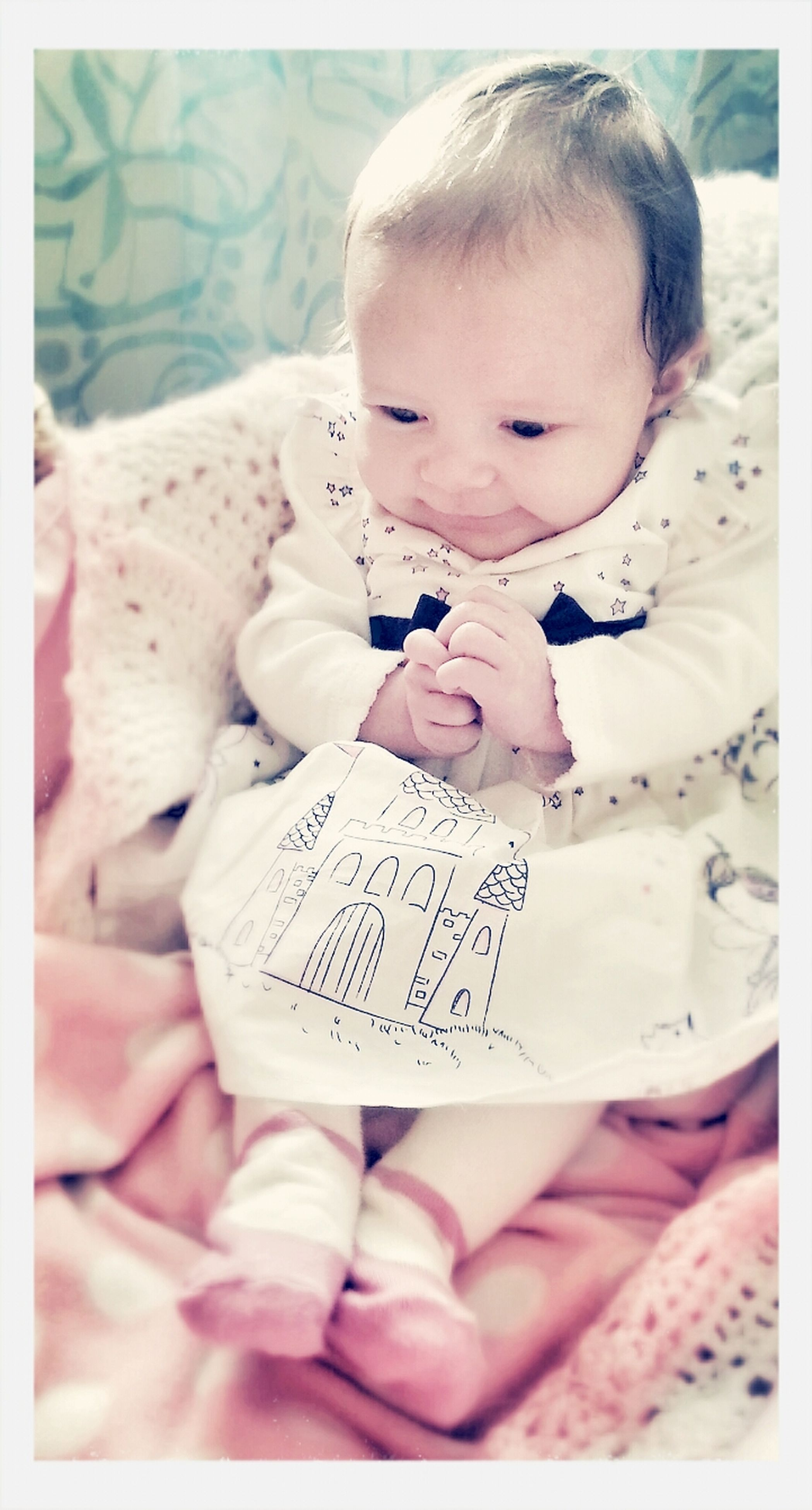 indoors, childhood, transfer print, text, communication, lifestyles, auto post production filter, innocence, holding, book, person, baby, bed, leisure activity, elementary age, cute, babyhood, toddler