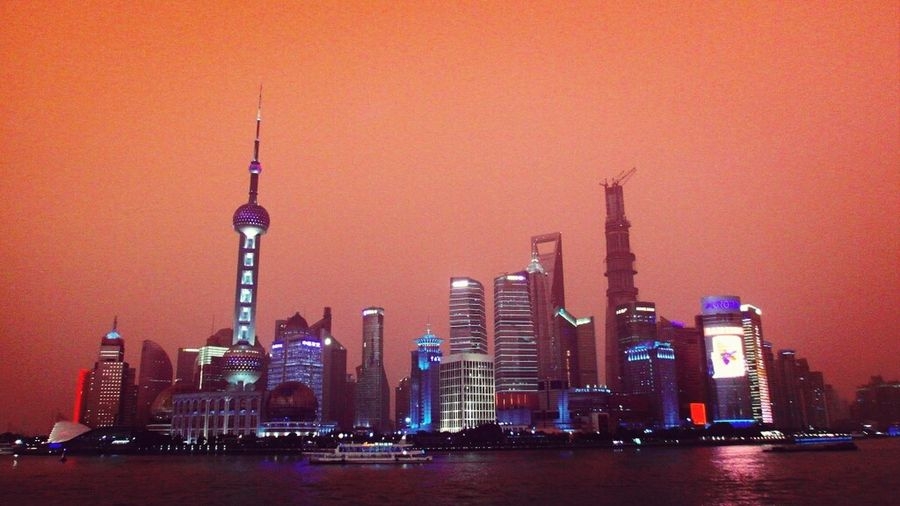 Shanghai Untergang GetYourGuide Cityscapes City Skyline Waterfront Sky Orange Dust The City Light