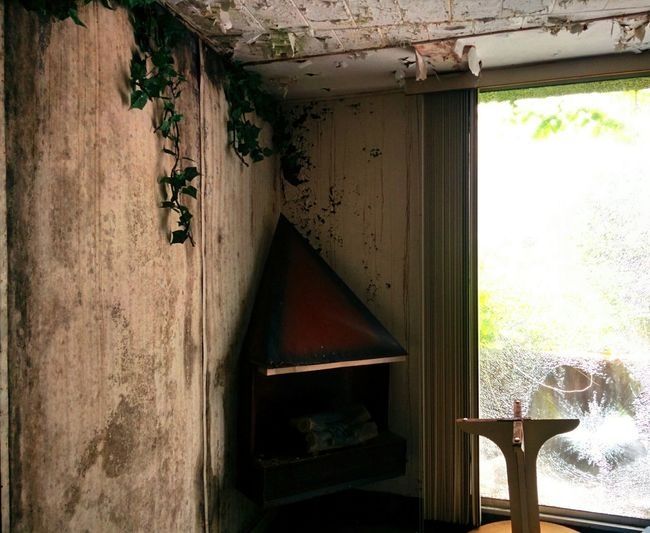 Urban Exploration Hotel Room Fireplace Paint Decay Broken Window Faux Vines