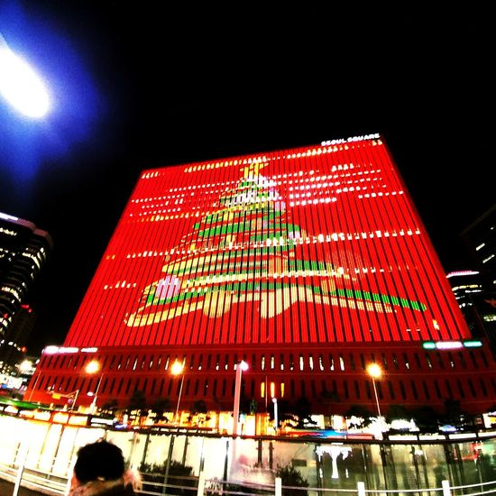 Christmas Tree Night Illuminated Low Angle View Arts Culture And Entertainment Outdoors Large Group Of People Sky