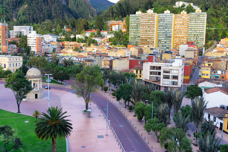 Bogota, Colombia with a view of a plaza known as Parque de los Periodistas America Architecture Bogotá Building Candelaria Capital City Colombia Colonial Colors Cundinamarca Destination Downtown Façade Historic House Landmark Old Outdoors South Street Traditional Travel Urban View
