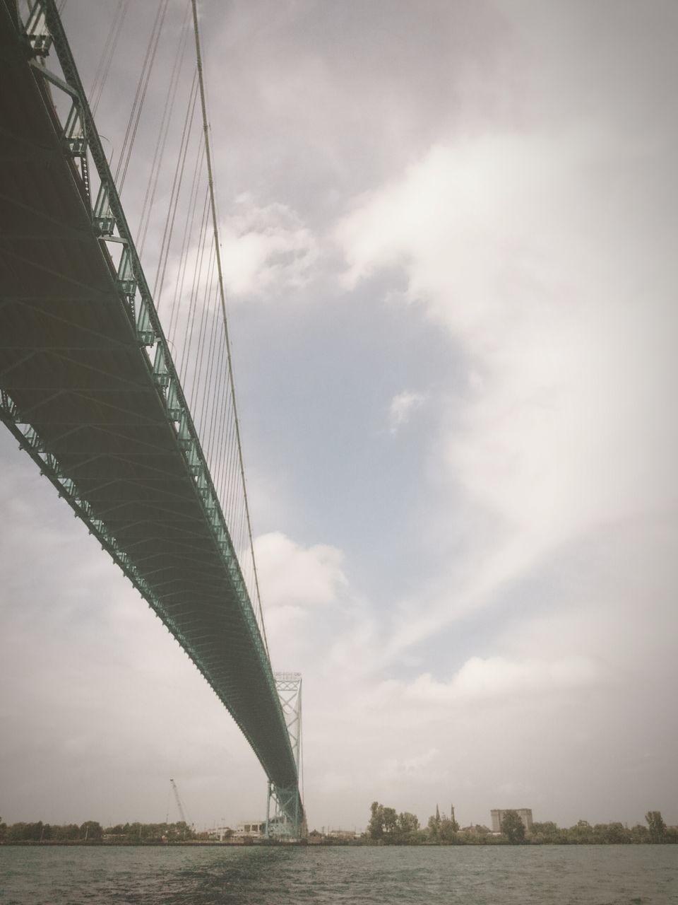 bridge - man made structure, connection, suspension bridge, engineering, architecture, sky, built structure, transportation, outdoors, no people, cloud - sky, travel destinations, day, bridge, water, city