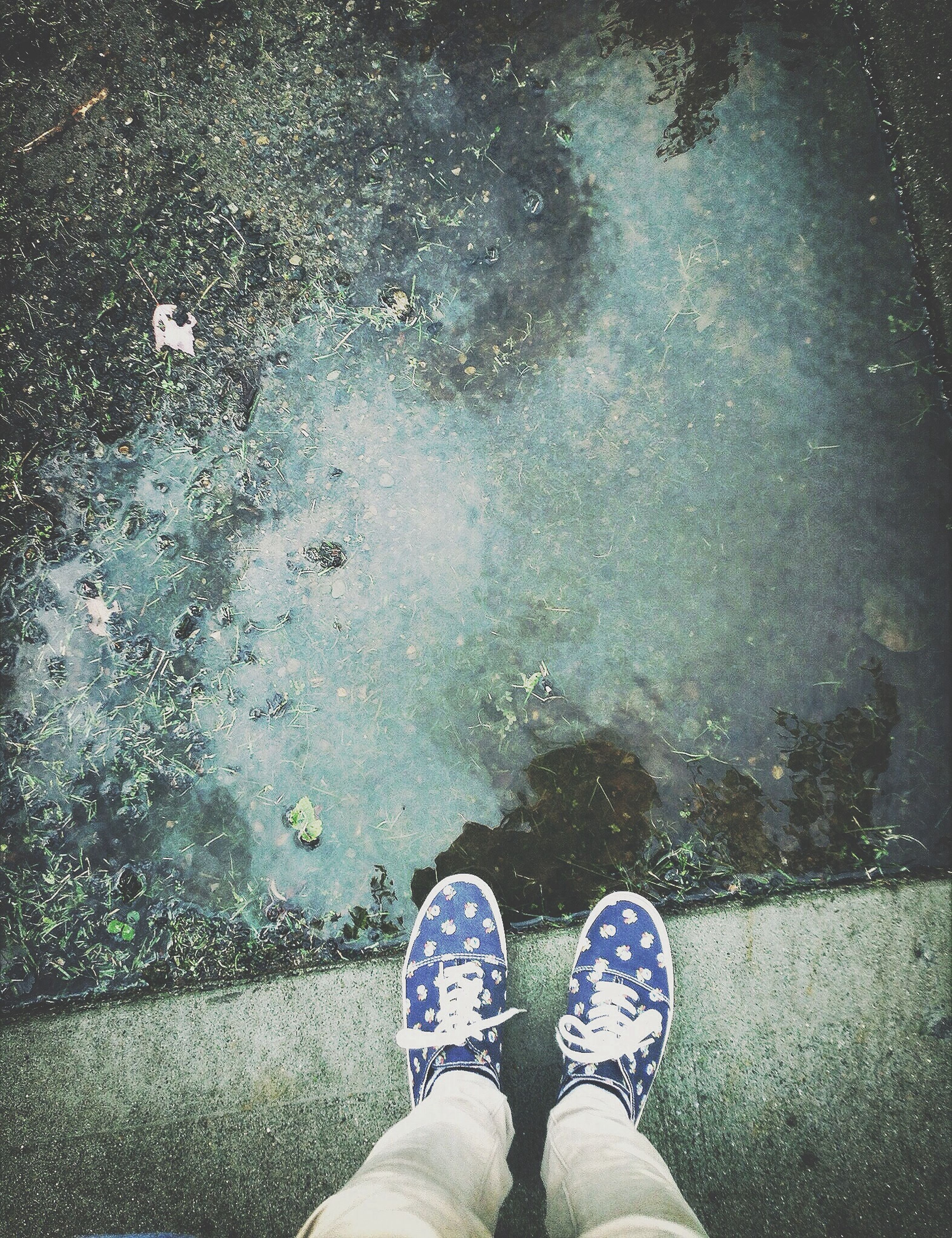 low section, person, personal perspective, shoe, water, wet, standing, human foot, rain, lifestyles, street, season, puddle, reflection, high angle view, footwear, men