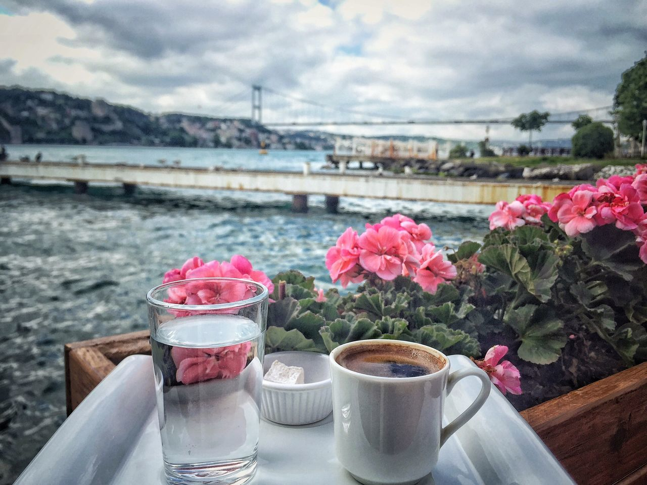 Bosphorus Bosporus Bridge Cafe Coffee Coffee Time Day Drinking Europe Flower Freshness Istanbul No People Nobody Pink Plant Seaside Sky Spring Traveling Turkey Turkish Turkish Coffee Turkish Delight Water