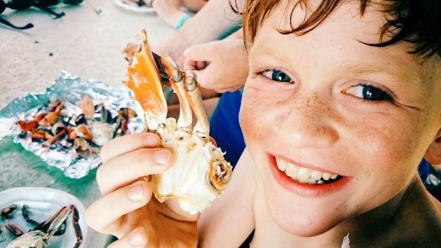 My boy eating fresh blue crab 😘 Sea Beach Life Crab Sun Beach Seaboy Happy Enjoying Life