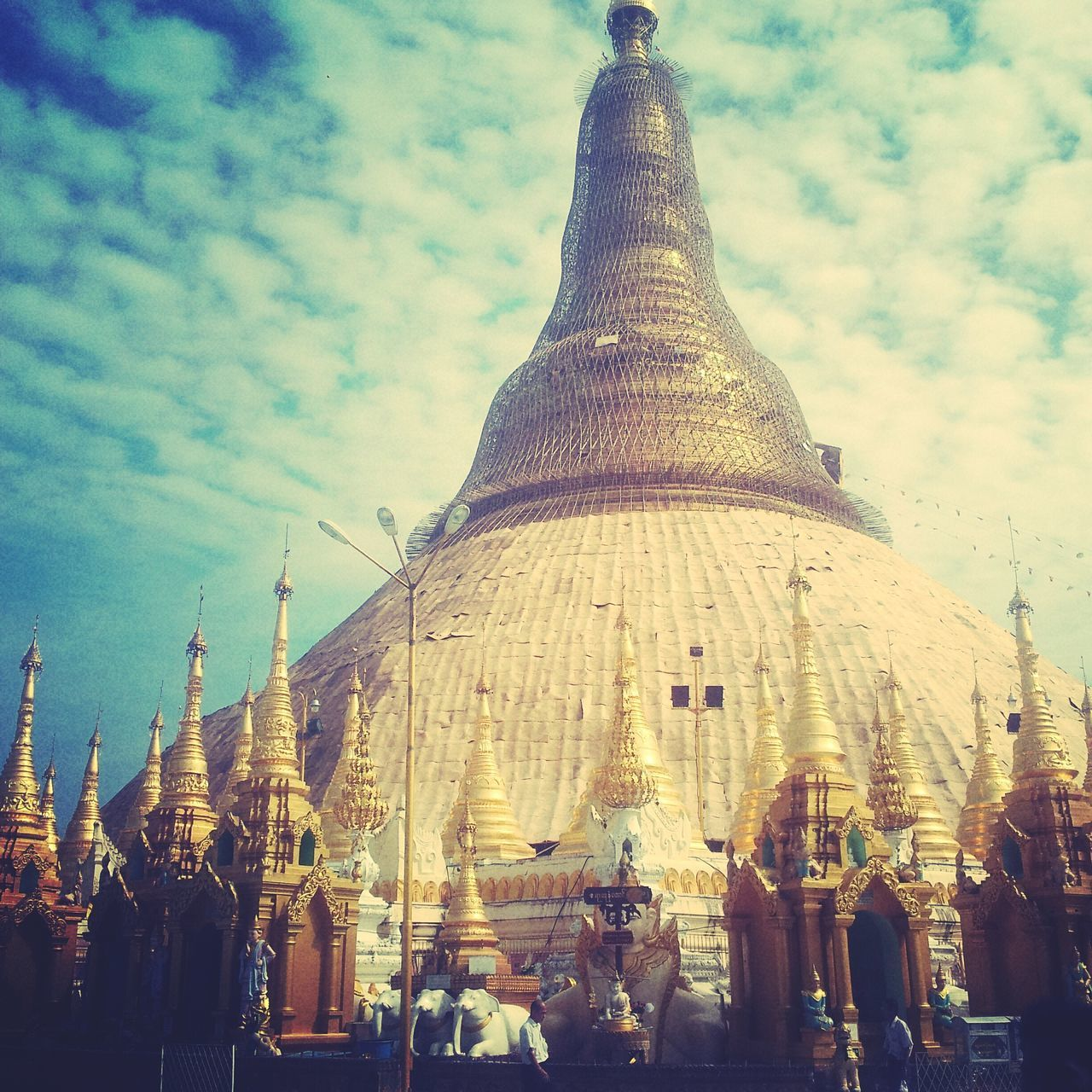 Sky Cloud Temple - Building Religion And Tradition Church. Yangoon Burma Shwedagon Pagode Human Representation