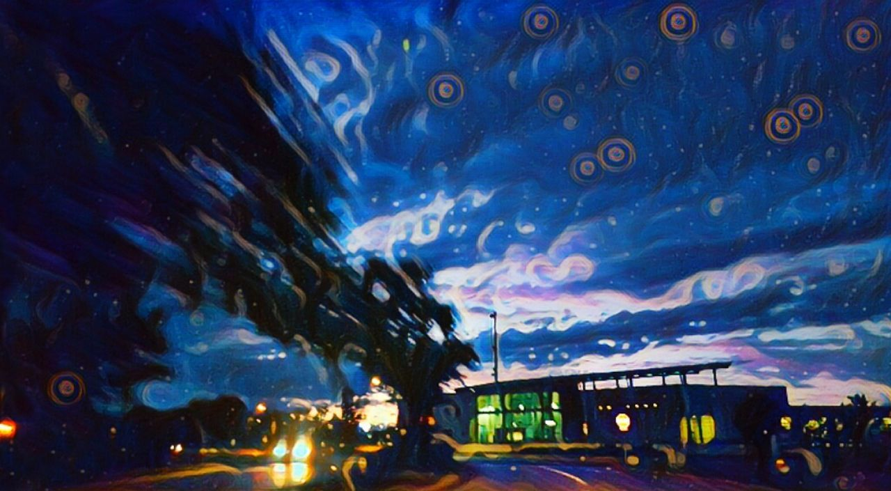 Night Illuminated Car City Life City Road Travel Destinations Mode Of Transport Outdoors Architecture Vangogh Van Gogh Vangogh Inspired Vangoghish Transportation Multi Colored Sky Noirphoto Surreal Mysterious Surrealist Art Dark Beauty Architecture Nighttime