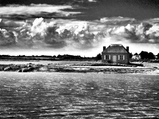 B&WPhoto B&W Collection B&w B&W Photo Lifestyle Monochrome Collection Monochrome Photograhy Black And White Photography built structure Cloud - Sky Architecture Building Exterior Water Outdoors no people Sea Nature Oyster Farmer S' House Harbourside Saint Cado Belz Morbihan (56) Bretagne France🇫🇷 HuaweiP9Photography