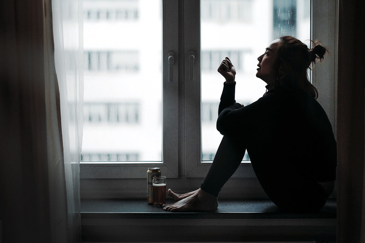 Snowing lonely day Drink Food And Drink Indoors  Leisure Activity Lifestyles Looking Through Window One Person Window