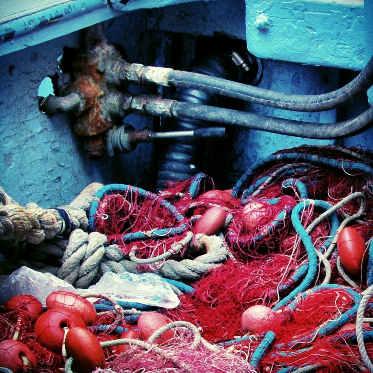 View of fishing nets in boat