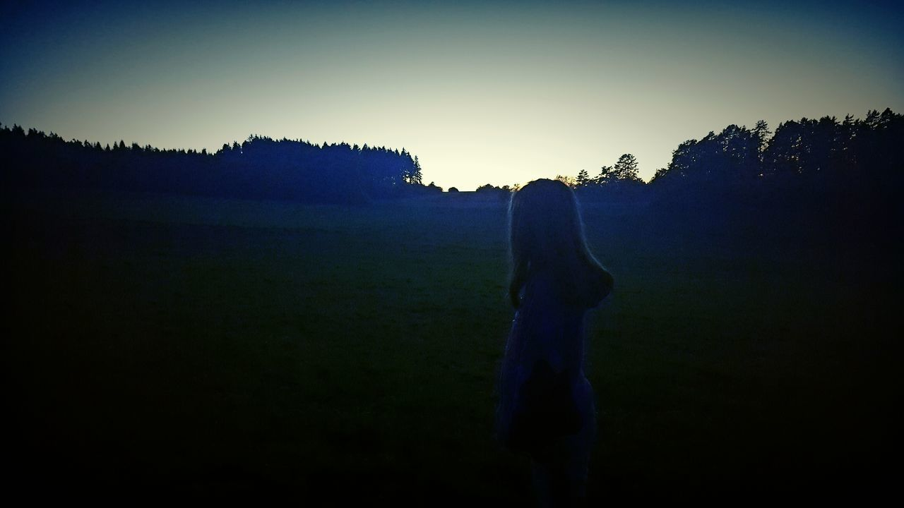 silhouette, nature, sunset, landscape, field, clear sky, grass, outdoors, sky, beauty in nature, scenics, tree, growth, one person, real people, day, people