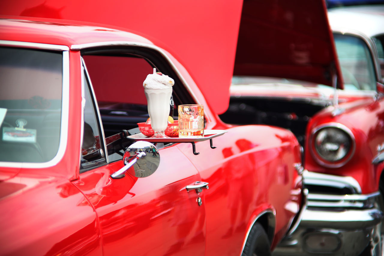 red, car, land vehicle, transportation, mode of transport, day, outdoors, no people, close-up