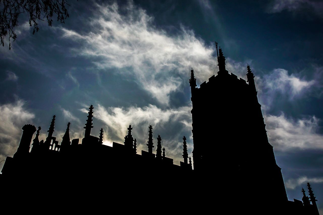 Sky Silhouette Cloud - Sky Low Angle View Building Exterior Architecture Outdoors Built Structure No People Place Of Worship Day Cathedral Cirencester