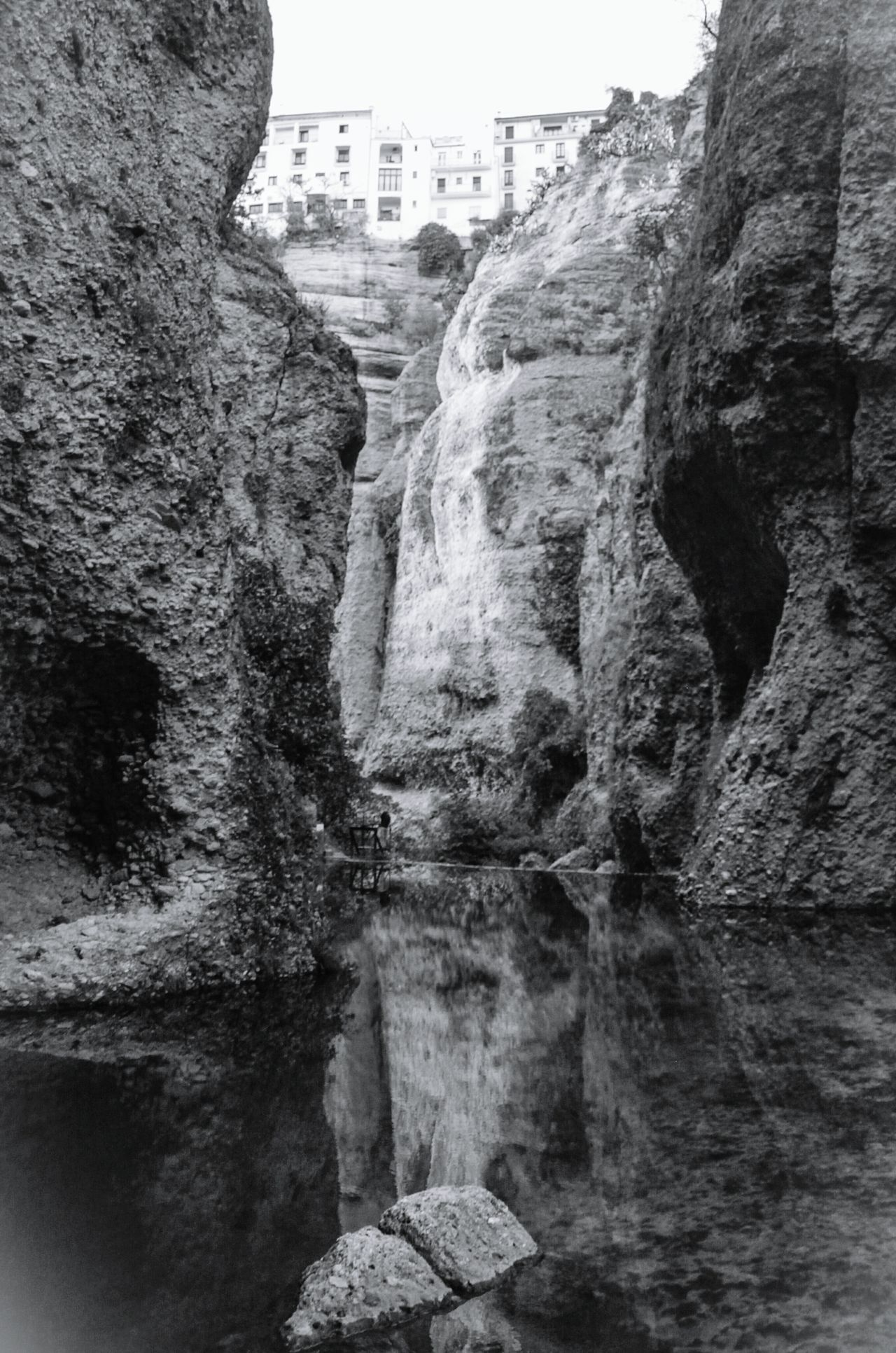 Outdoors Day Check This Out EyeEm Gallery Cliff Ronda Spain Ronda, Malaga Ronda Evening Light Travel Reflection In The Water Reflection Photography Reflections On The Water Blackandwhite Black And White Black & White Bnw EyeEm Best Shots Nopeople Rock Formation Rocks And Water