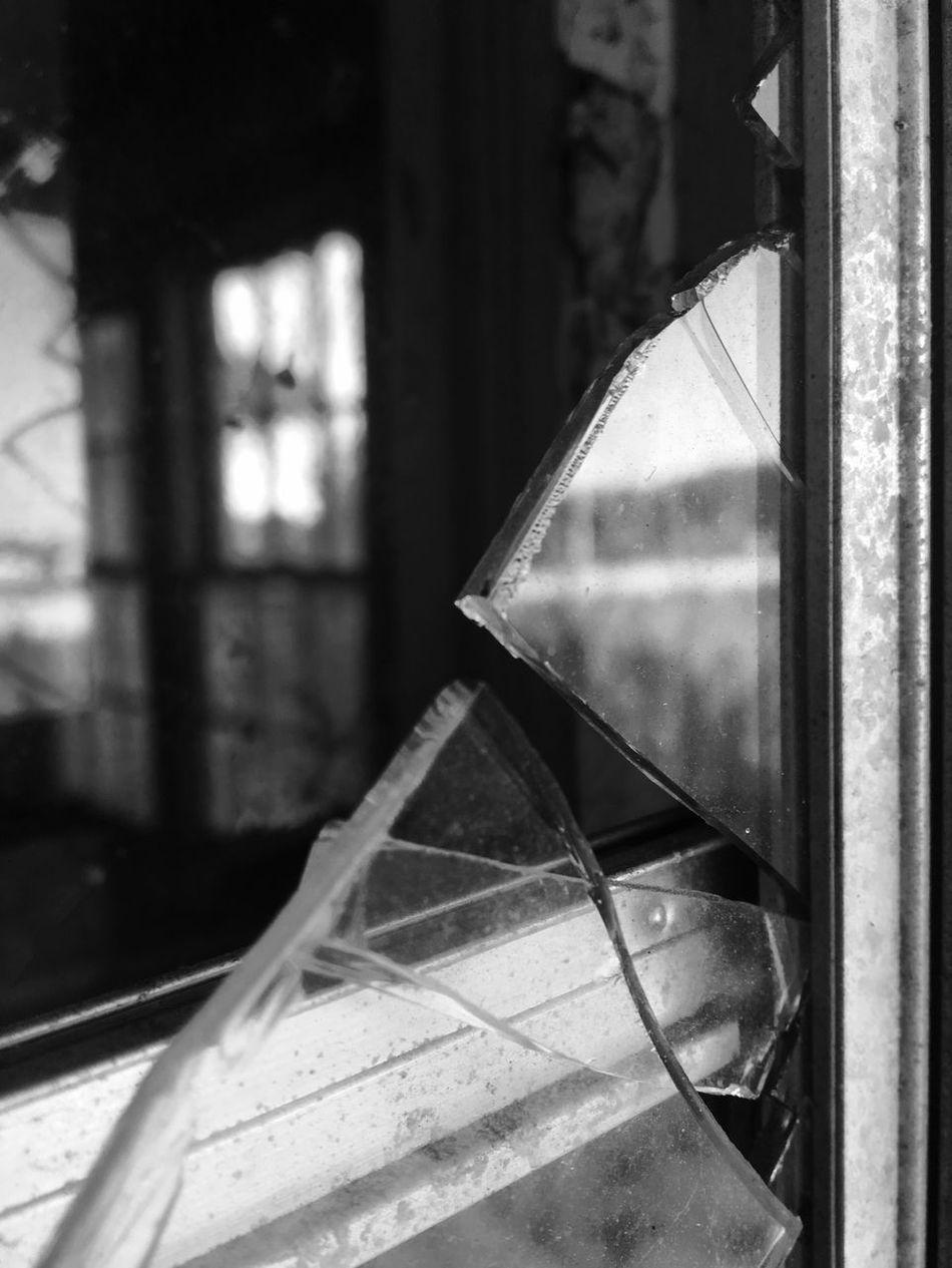 Window Close-up Day Indoors  No People Change Broken Abandoned Buildings Abandoned Places Broken Glass Blackandwhite Building Exterior