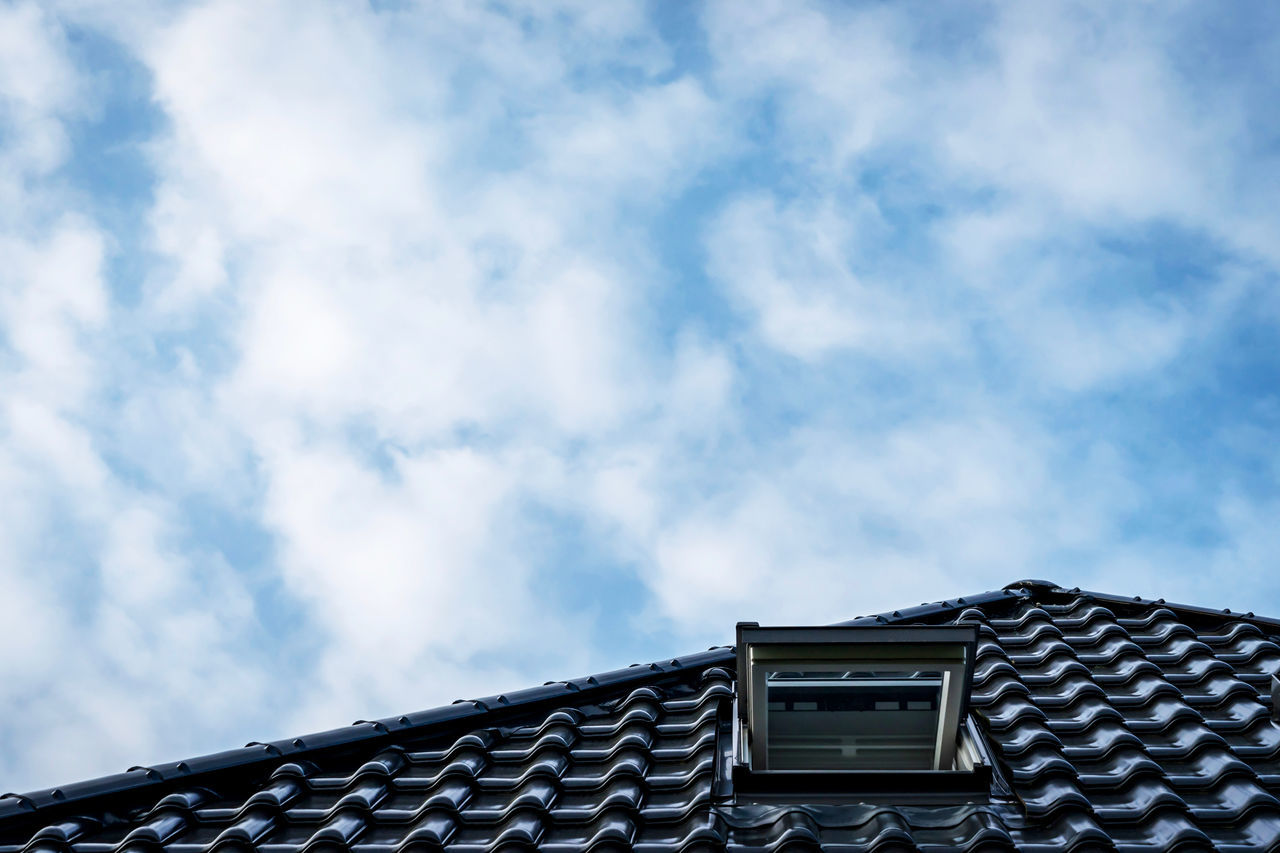 Architecture Building Built Structure Cloud - Sky Clouds And Sky Day Grey Low Angle View Nature No People Outdoors Roof Rooftop Rooftop View  Rooftops Sky Tiled Roof  Window Windows