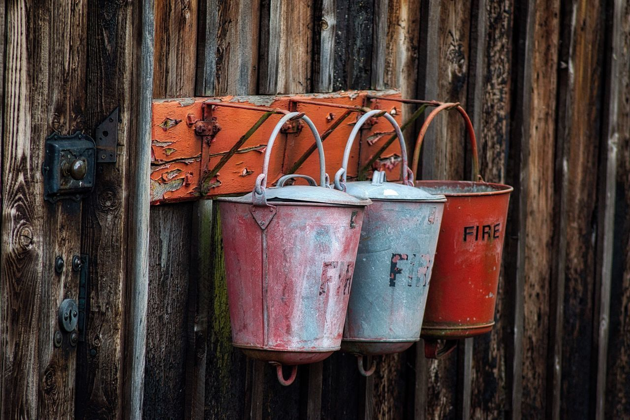 Wood - Material Day No People Outdoors Close-up EyeEmNewHere Check This Out First Eyeem Photo Hello World Bucket Buckets Fire Equipment Hanging