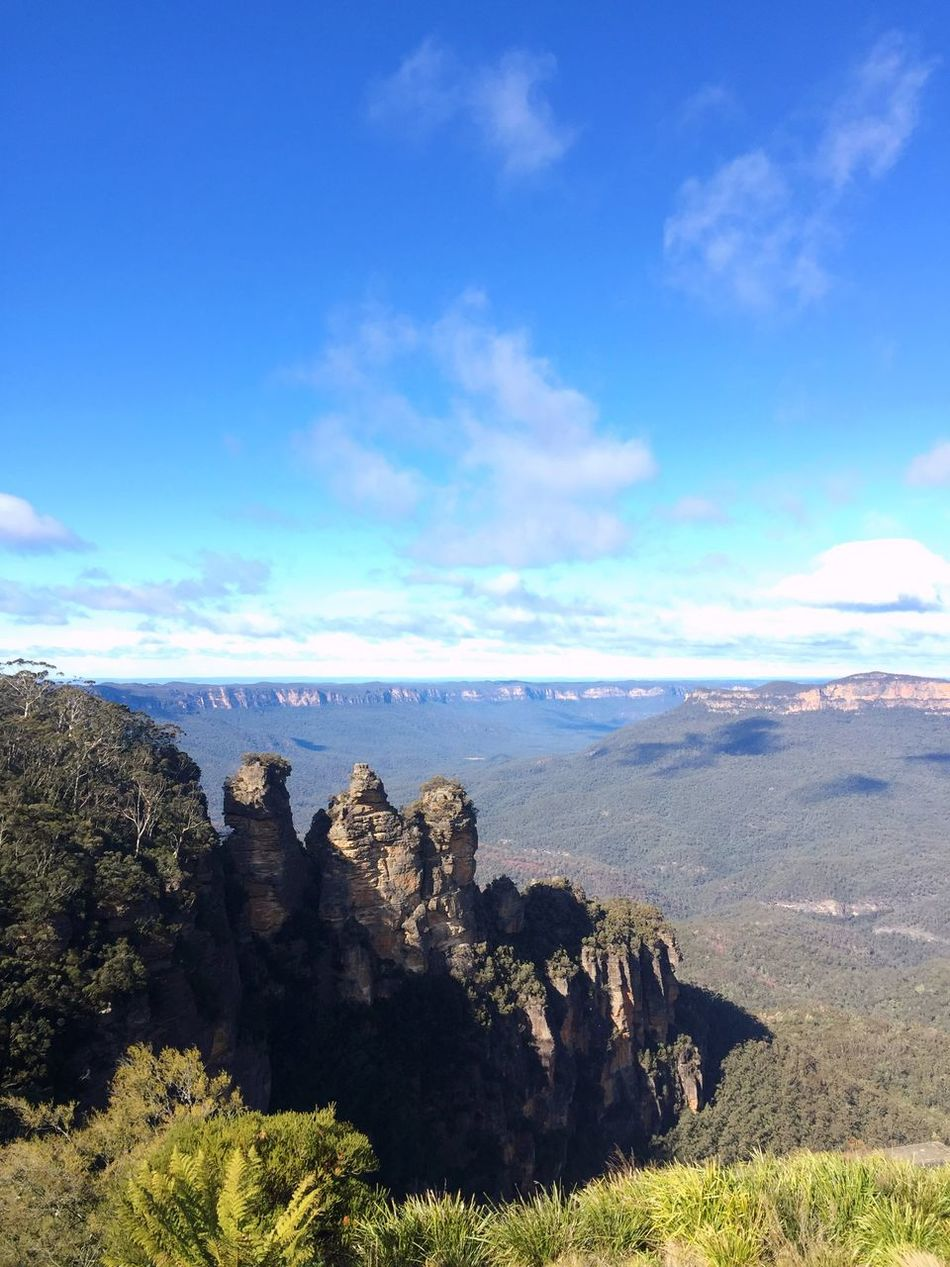Taking Photos Travel Traveling Sydney Katoomba The Three Sisters Echo Point Blue Sky Clouds And Sky Nature Landscape IPhoneography