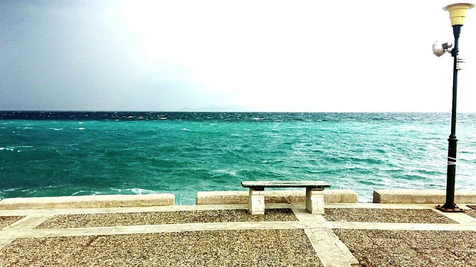 Daylight Sea And Sky Sea View Sea_collection Bench Bench With A View Greece Athens No People Filters