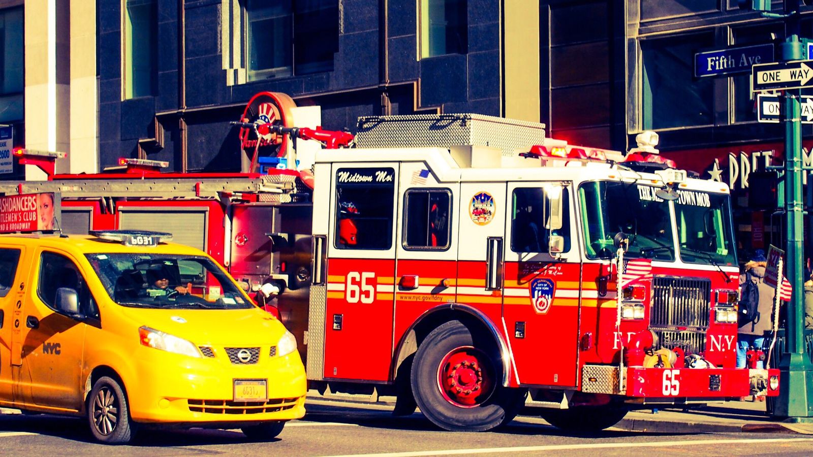 Iconic New York cab and fire truck New York City Travel Travel Photography Firetruck NYC CAB Taxi Firemen Emergency