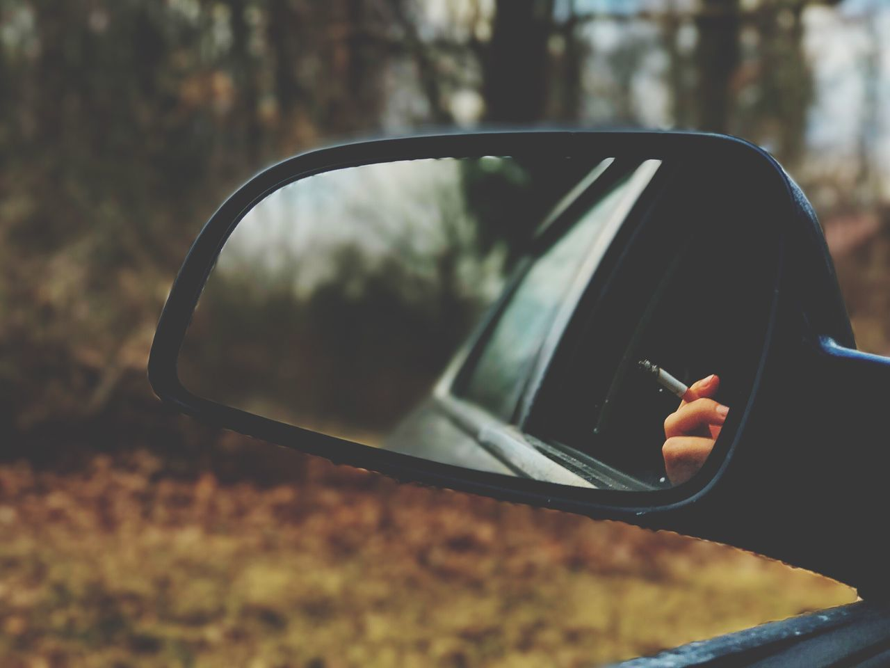 Cigarette  Cig Cigarette Time Side-view Mirror Car Reflection Close-up Transportation Mode Of Transport Vehicle Mirror Tree Day