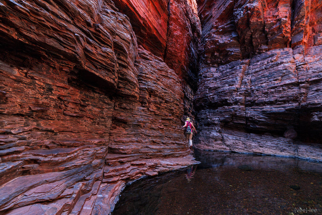 exploring the gorges of Karijini National Park in WA. One of our many loved places Adventure Australia Australian Landscape Beauty In Nature Cliff Gorge Karijini National Park Lifestyles Nature One Person Only Women Physical Geography Real People Rock - Object Rock Formation Scenics