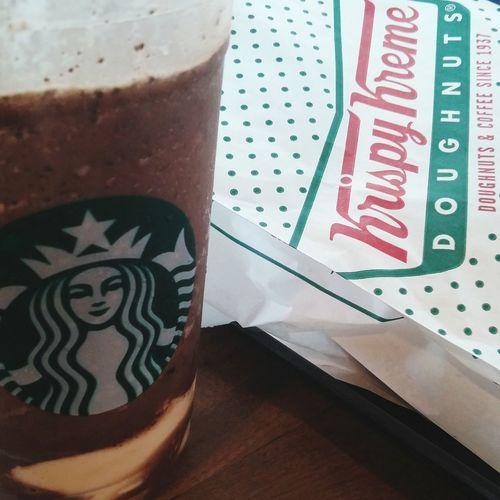 Afternoon delight Starbucks Coffee Frappe KrispyKreme Doughnut Snacks Foodporn