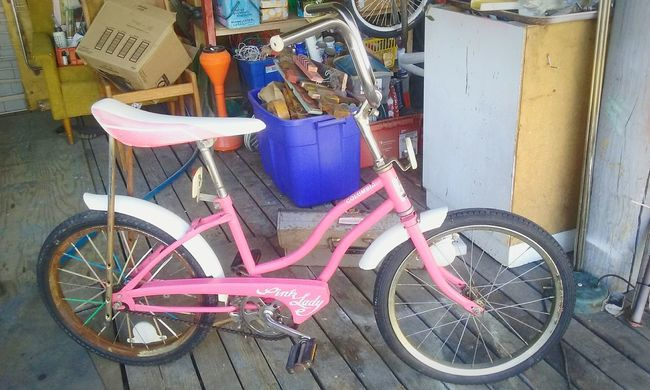 Bicycle Pink Color Columbia Pink Lady Vintage Banana Seat Bike Bicycle Transportation Mode Of Transport Stationary Land Vehicle Parking Built Structure Parked Architecture House Pink Color Building Exterior Footpath Outdoors Day No People Paving Stone Cycle