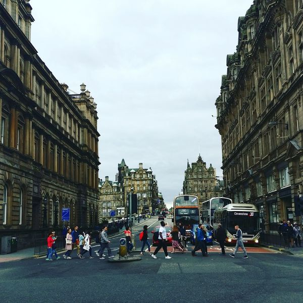 Architecture City Street Building Exterior City Life People City Day Outdoors Built Structure Travel Destinations Sky Statue Adult Scotland PhonePhotography Edinburgh City Street City Road Transportation Oneplus3 Phone Eye4photography  EyeEmNewHere Taxi