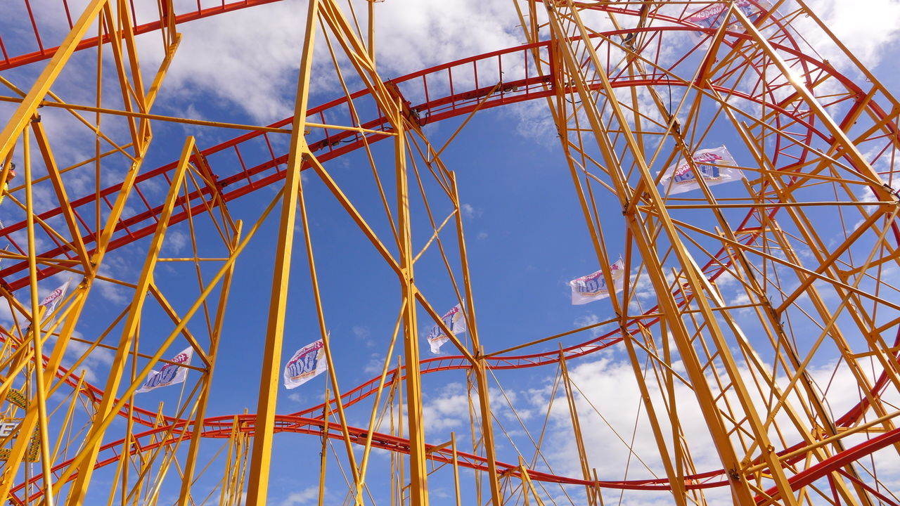 Hamburger Dom Colour Of Life Blue Close-up Cloud Cloud - Sky Day Engineering Fun Happiness Kermis Kirmes Looping Low Angle View Metallic No People Outdoors Part Of Red Roller Coaster Steel Structure Tourism Yellow Hidden Gems  Fresh On Eyeem