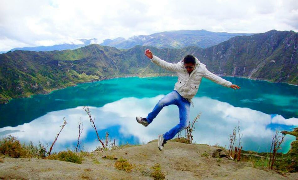 Quilotoa lagoon, Ecuador Edge Of The World Laguna Quilotoa Ecuador Capturing Freedom Jumping Lagoon EyeEm Gallery The Great Outdoors - 2015 EyeEm Awards EyeEm Best Shots What I Value Landscapes With WhiteWall Feel The Journey Adventure Club Hidden Gems  People And Places Miles Away