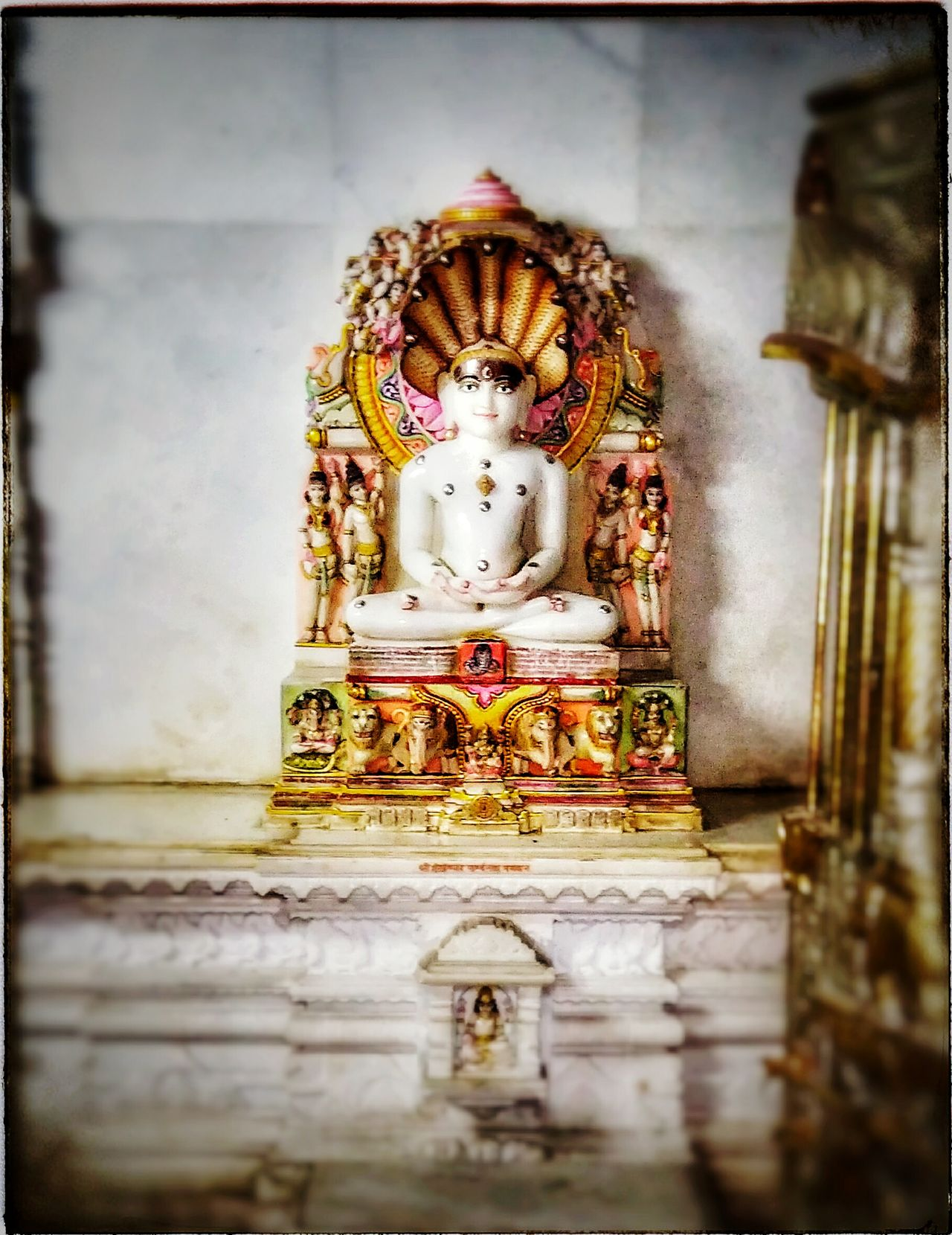 Religion Spirituality Statue Sculpture Idol Gold Colored Place Of Worship Indoors  Jain Temple Jainism JainTirthankar Parasnath Photography Indian Multi Colored Peaceful Peace And Quiet Uniqueness