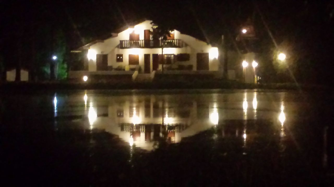 illuminated, night, reflection, water, built structure, architecture, building exterior, no people, outdoors, sky